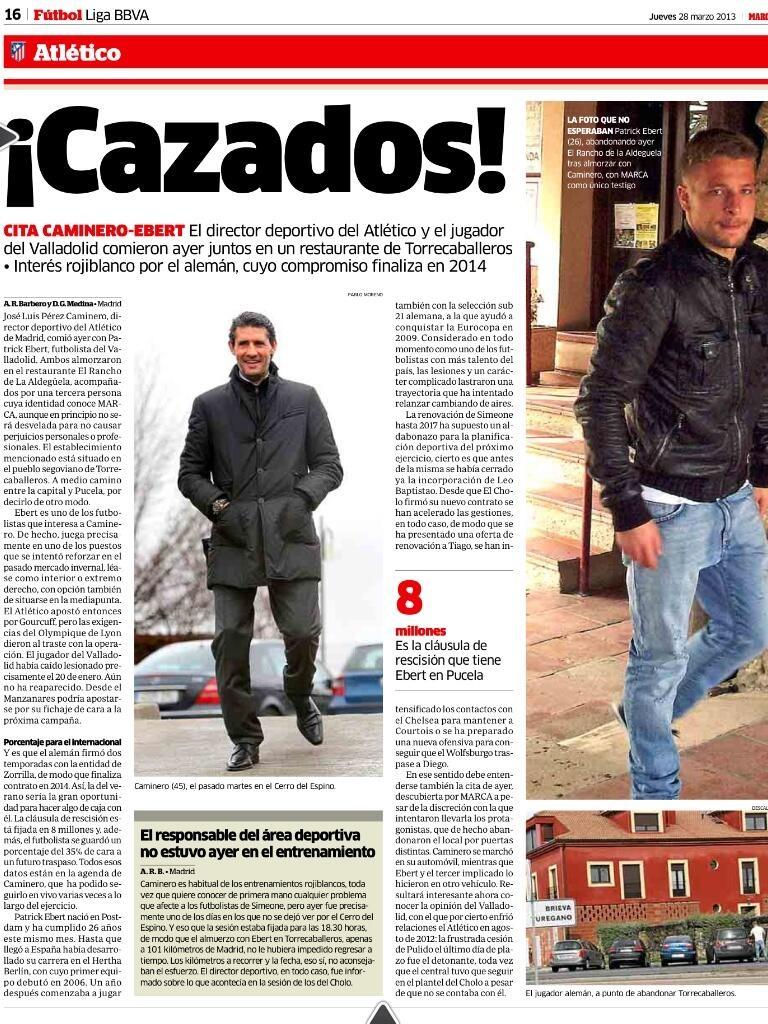 Ebert Atlético de Madrid. Reunión con Caminero