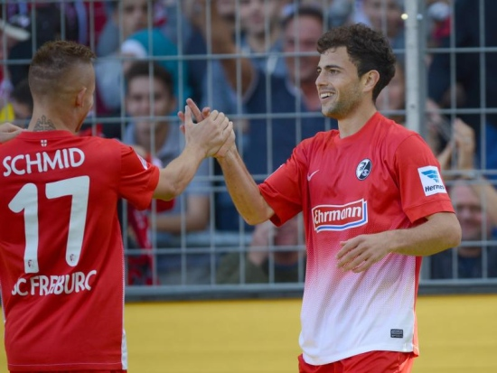 """Mehmedi (der) y Schmid (izq), la dupla """"goleadora"""" del SC. Foto: wz.de"""