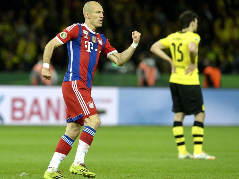 Robben volvía a protagonizar un tanto ante el Borussia, recordando el vivido en Wembley hace un año, en la final de la pasada Champions League. Foto: Getty Images.