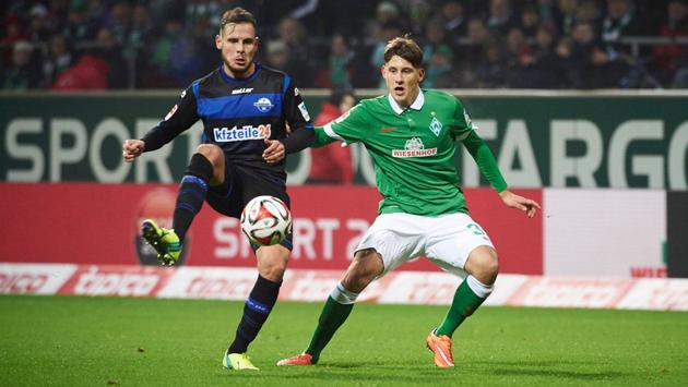 Eggestein (der.) jugó siete minutos ante el SCP, pero le alcanzó para subirse al podio. Foto: werder.de//Heidmann