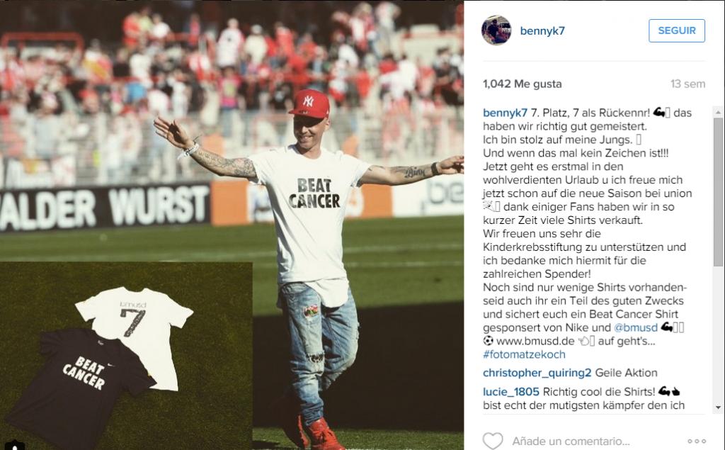 En su cuenta de Instagram, Köhler manifiesta de cerca su lucha contra la enfermedad.