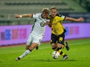Felix Passlack en el primer encuentro de preparación frente al Eintracht Frankfurt. Imagen procedente de: i.ytimg.com