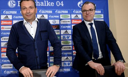 GELSENKIRCHEN, GERMANY - MAY 18:  (L-R) Head of sport Christian Heidel and chairman Clemens Toennies of FC Schalke 04 look on during a press conference at Veltins-Arena on May 18, 2016 in Gelsenkirchen, Germany.  (Photo by Sascha Steinbach/Bongarts/Getty Images)