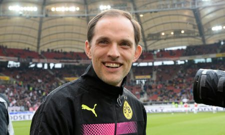 Dortmund's head coach Thomas Tuchel smiles prior to the German first division Bundesliga football match between VfB Stuttgart and Borussia Dortmund in the Mercedes-Benz Arena in Stuttgart, southwestern Germany, on April 23, 2016.  / AFP / THOMAS KIENZLE / RESTRICTIONS: DURING MATCH TIME: DFL RULES TO LIMIT THE ONLINE USAGE TO 15 PICTURES PER MATCH AND FORBID IMAGE SEQUENCES TO SIMULATE VIDEO. == RESTRICTED TO EDITORIAL USE == FOR FURTHER QUERIES PLEASE CONTACT DFL DIRECTLY AT + 49 69 650050         (Photo credit should read THOMAS KIENZLE/AFP/Getty Images)