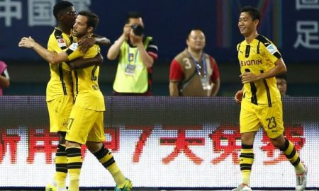 Football Soccer - Borussia Dortmund v Manchester United - International Champions Cup - Shanghai Stadium, Shanghai, China - 22/7/16 Borussia Dortmund's Gonzalo Castro celebrates scoring their first goal with Ousmane Dembele and Shinji Kagawa Action Images via Reuters / Thomas Peter  Livepic