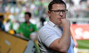 MOENCHENGLADBACH, GERMANY - MAY 07:  Manager Max Eberl of Moenchengladbach looks on prior to the Bundesliga match between Borussia Moenchengladbach and Bayer Leverkusen at Borussia-Park on May 07, 2016 in Moenchengladbach, Germany.  (Photo by Sascha Steinbach/Bongarts/Getty Images)