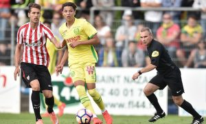 Nantes' French midfielder Amine Harit (C) runs with the ball during the friendly football match between Nantes and Athletic Bilbao on July 30, 2016 in Saint-Nazaire, western France. / AFP / JEAN-SEBASTIEN EVRARD        (Photo credit should read JEAN-SEBASTIEN EVRARD/AFP/Getty Images)