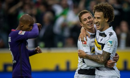MOENCHENGLADBACH, GERMANY - SEPTEMBER 17: Fabian Johnson (R) and goal scorer Thorgan Hazard of Moenchengladbach celebrate after scoring a goal to make it 1-0 the Bundesliga match between Borussia Moenchengladbach and Werder Bremen at Borussia-Park on September 17, 2016 in Moenchengladbach, Germany. (Photo by Maja Hitij/Bongarts/Getty Images)