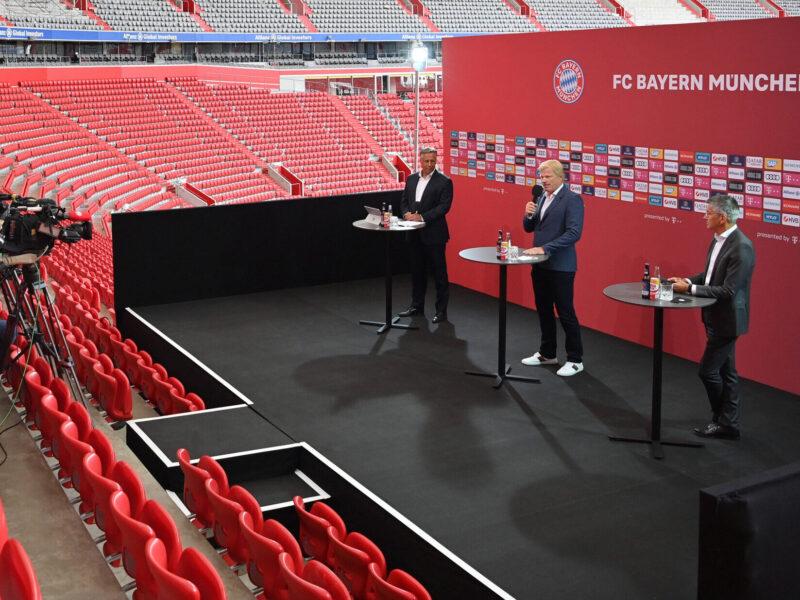 Oliver Kahn y Herbert Hainer dirigen una videoconferencia de prensa. Fuente: GettyImages