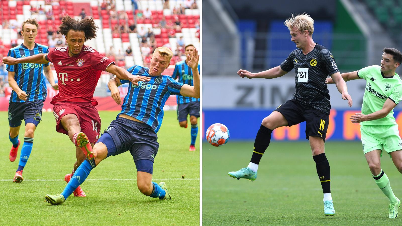 Zirkzee y Brandt en los amistosos de Bayern y Dortmund, los aspirantes a la Bundesliga. Fotos: Imago