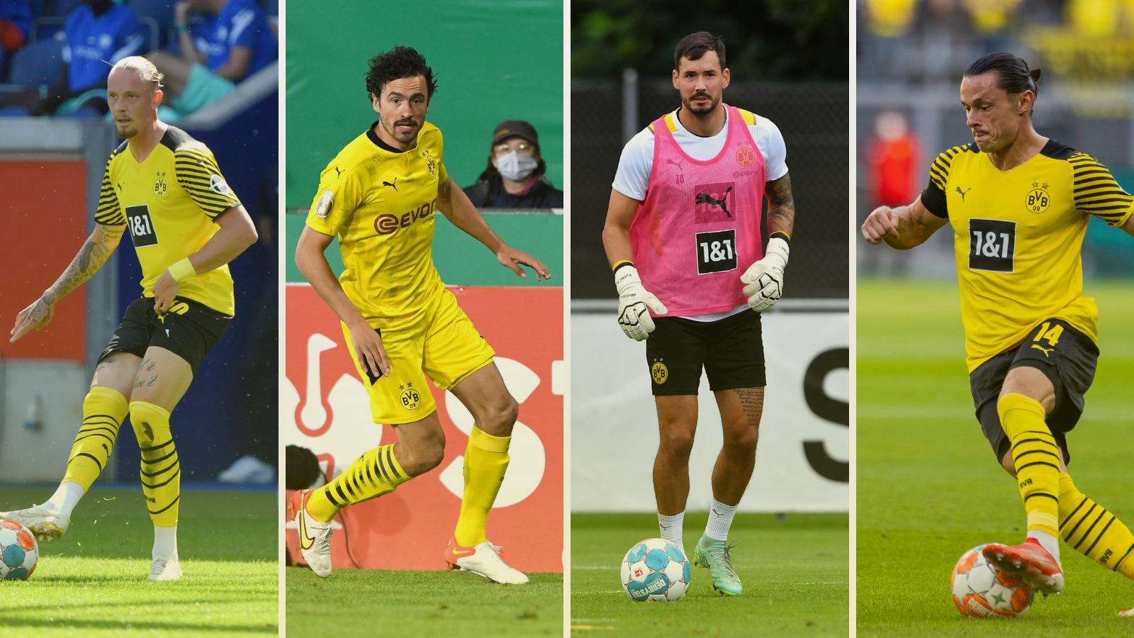Marius Wolf, Thomas Delaney, Roman Bürki y Nico Schulz, los jugadores en venta en Borussia Dortmund. Fotos: Imago.
