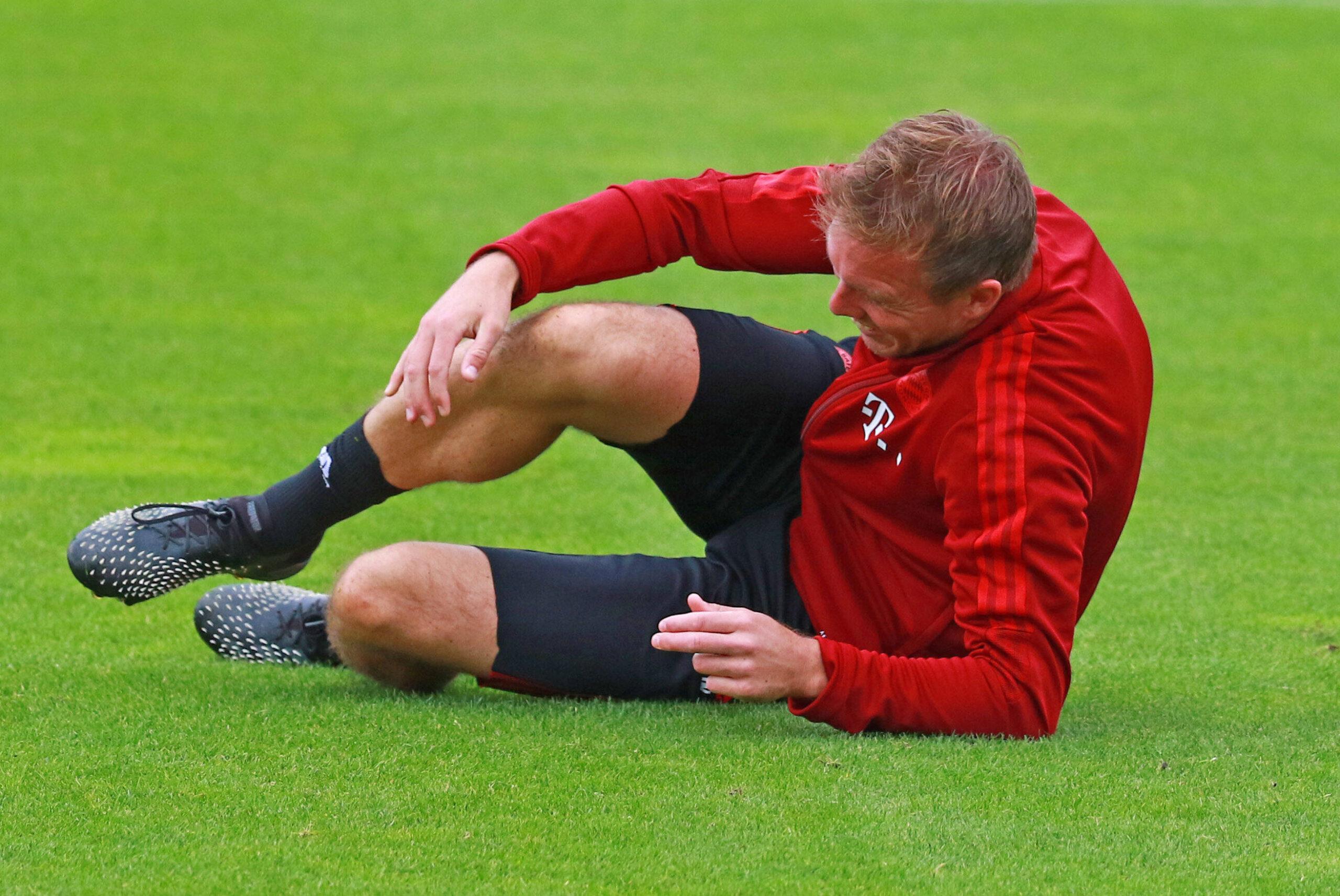 Nagelsmann y una imagen insólita en el entrenamiento del FC Bayern. Foto: Imago