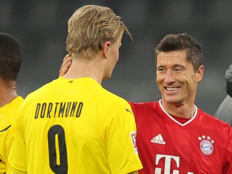 Lewandowski y Haaland a la cabeza de la tabla de goleadores de la Bundesliga.
