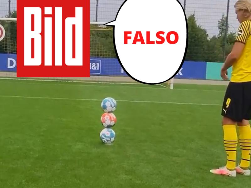Bild informa que el video de Haaland es falso.