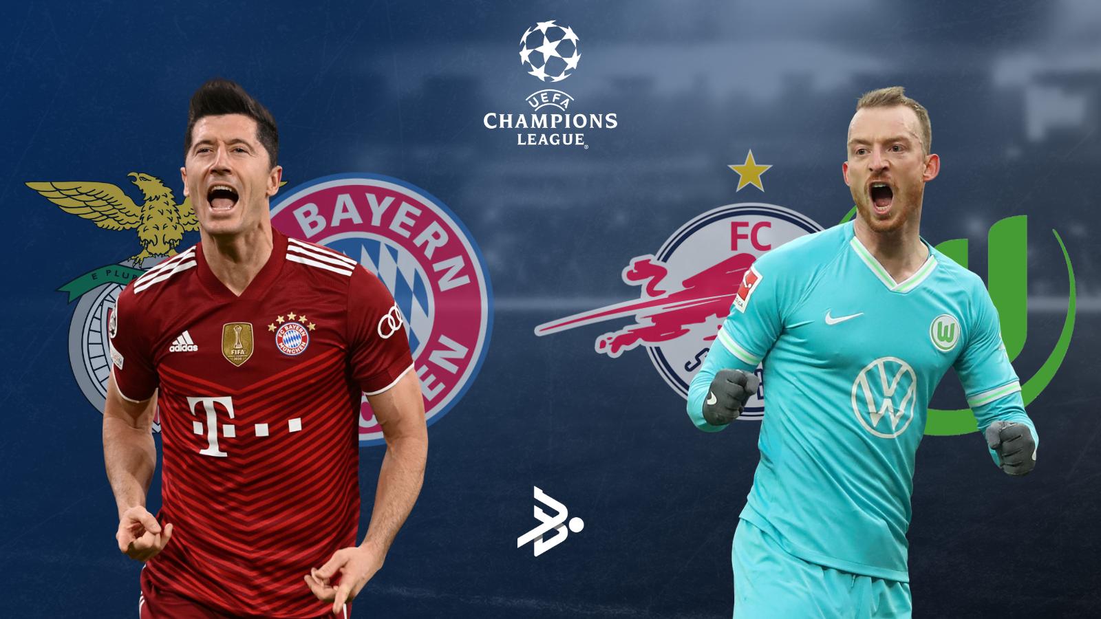 Bayern y Wolfsburg, los representantes de la Bundesliga en Champions este miércoles.